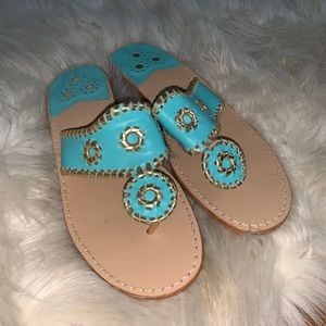 Jack Rogers turquoise gold leather sandals size 7